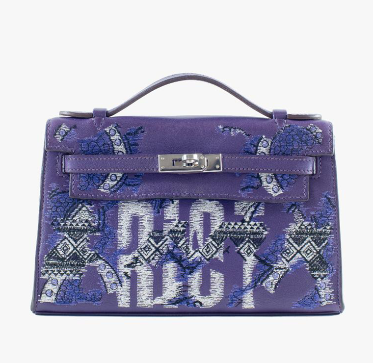 Purple Leather Kelly Pochette with African Pattern & Text Embroidery