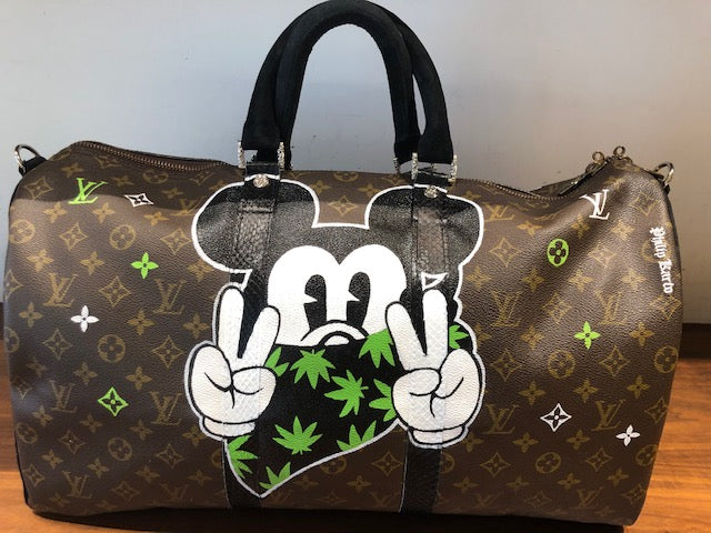"Vintage Louis Vuitton Hand Painted ""Mickey Weed"" 50cm Duffle Bag"