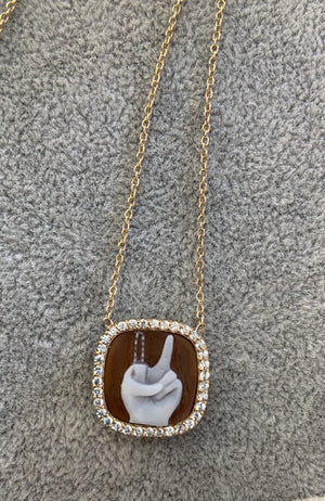 14K Gold Diamond Cameo Peace Sign Necklace