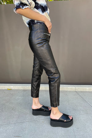 MARNI CROPPED ZIP CUFF PANTS IN BLACK