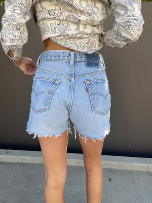 Cross Over Denim Shorts in Blue