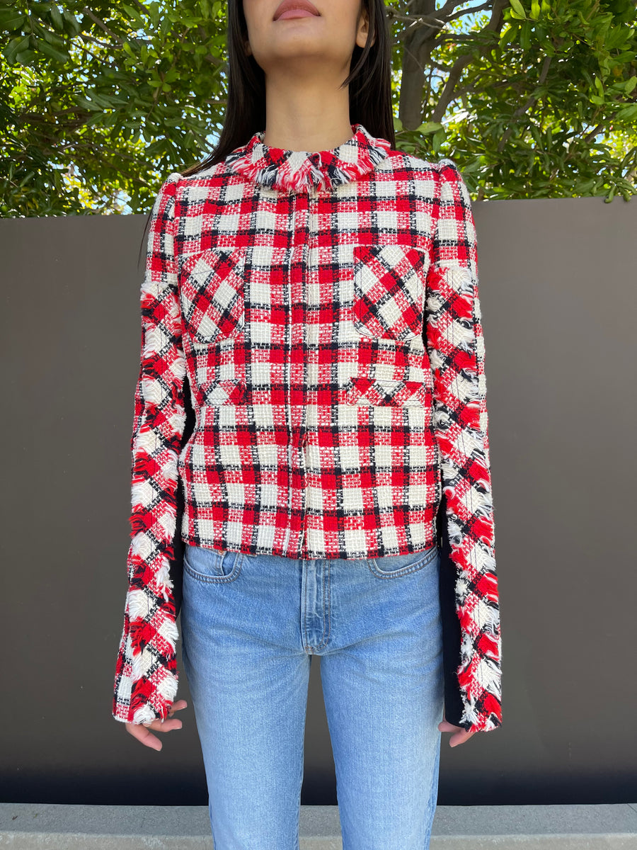 Cotton Plaid Jacket in Red