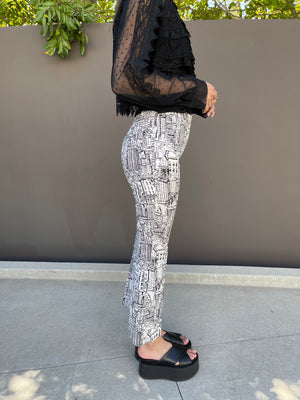 Jaine Cropped Flare Pant in City Print