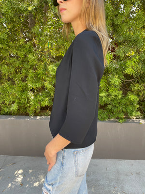 Sleeve Tuck T Black