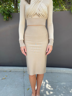 Midi Skirt in Beige