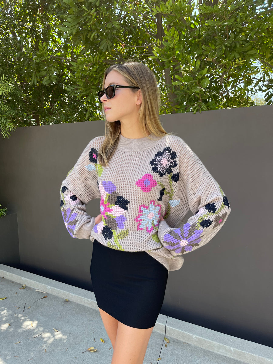 Cross Stitch Embroidered Sweater