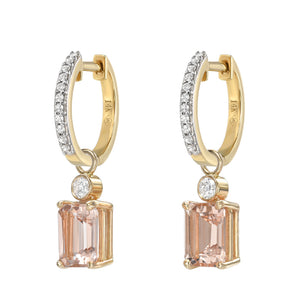 14K Diamond Huggies with Morganite and White Diamond