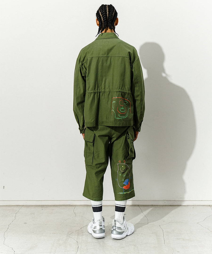 Cropped Fatigue Pants in Khaki