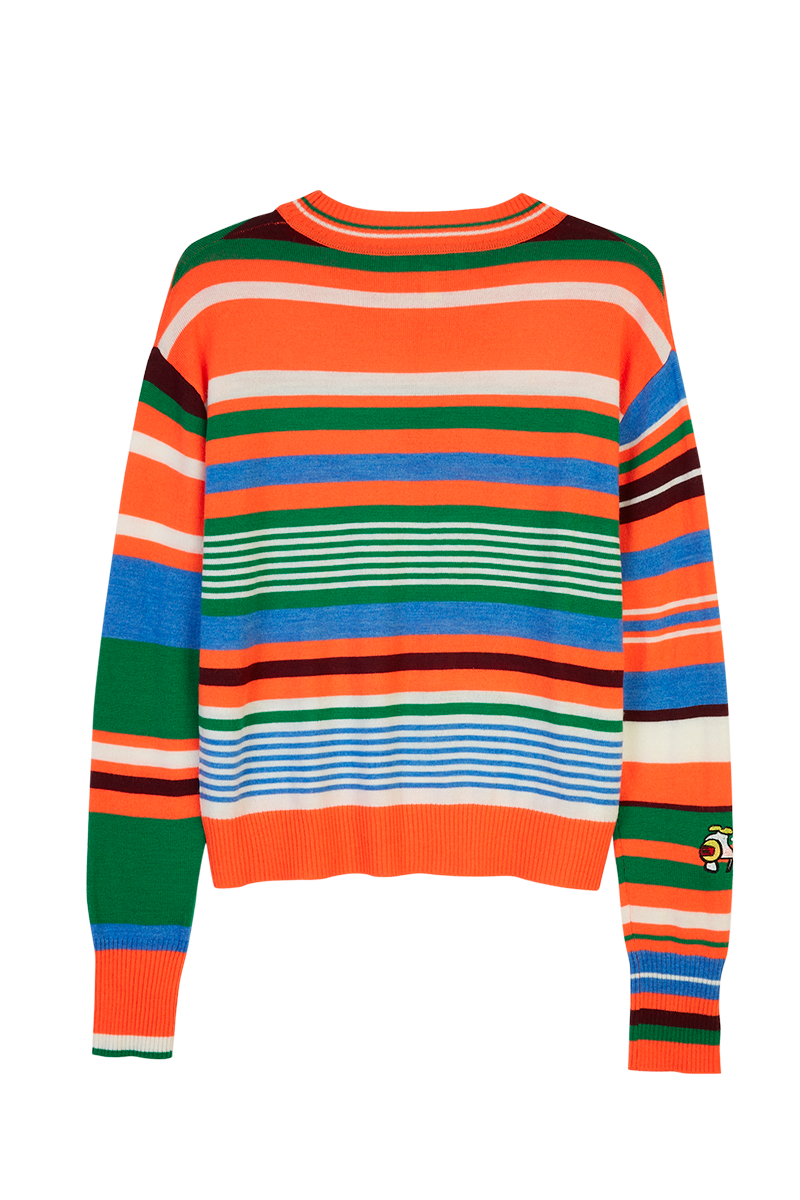 Take the Wild Road Embroidered Stripe Sweater