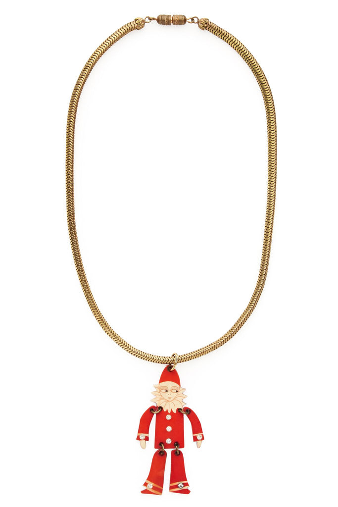Brass and Red Bake Light Character Necklace