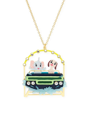 Elephant and Dog Rollercoaster Friends Necklace