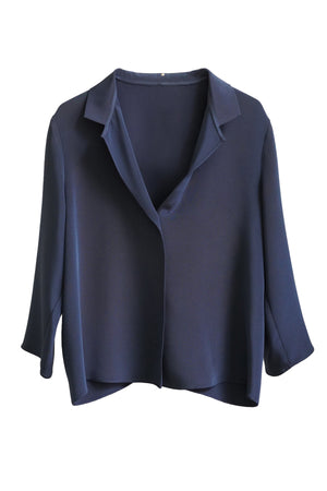 Navy Silk 3/4 Sleeve Square Front Frolic Top