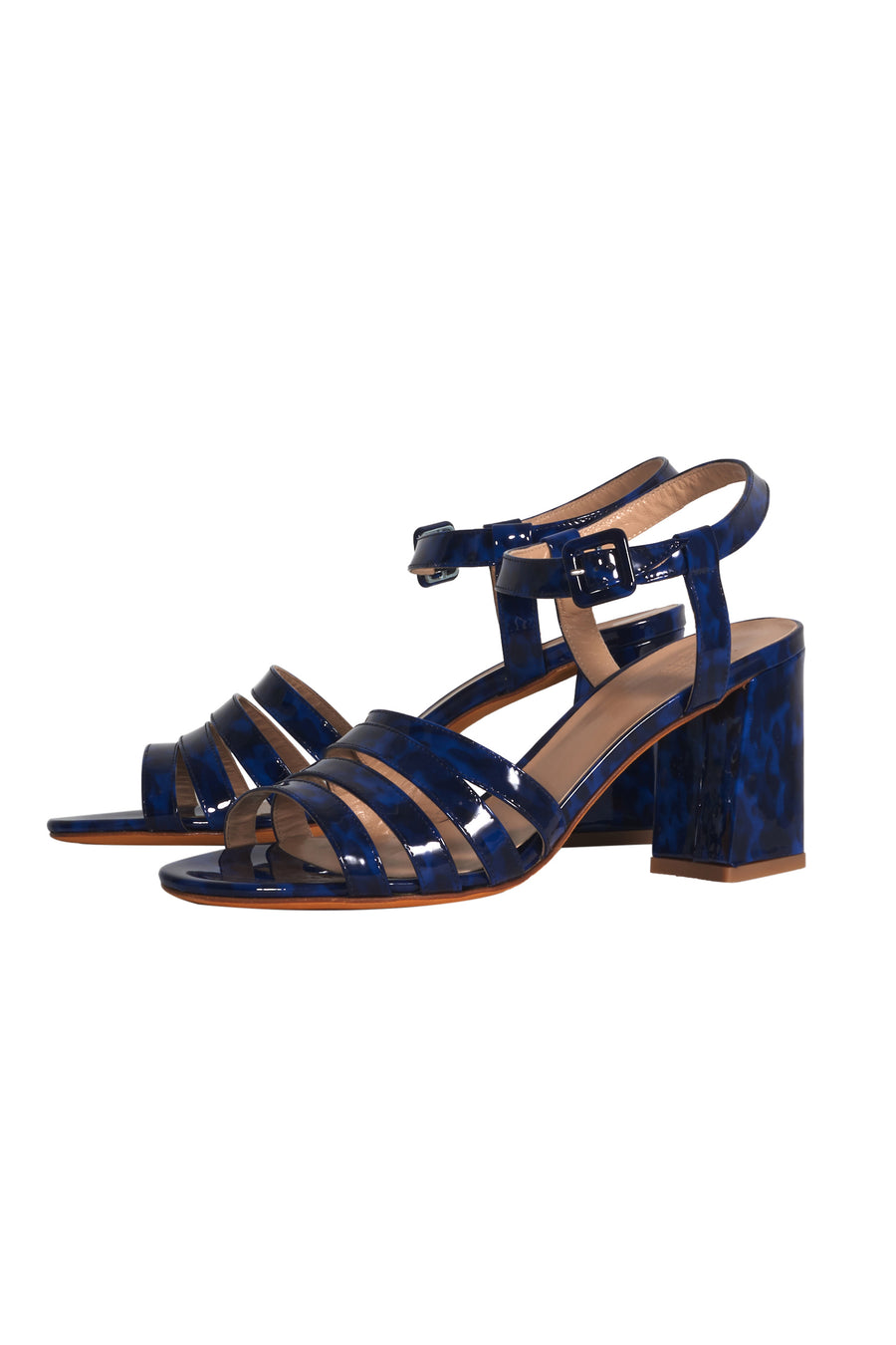Palma High Sandal in Navy Tortoise Patent