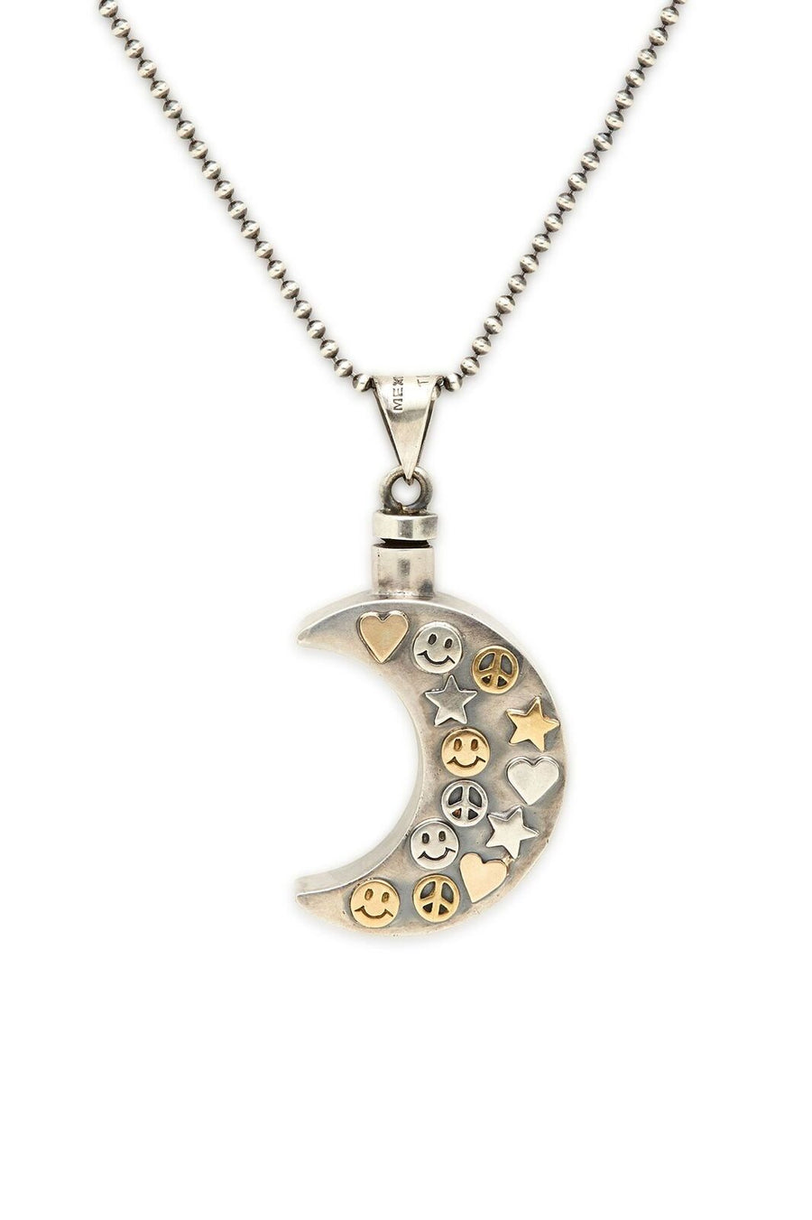 Sterling Silver and Gold Moon Perfume Bottle Necklace