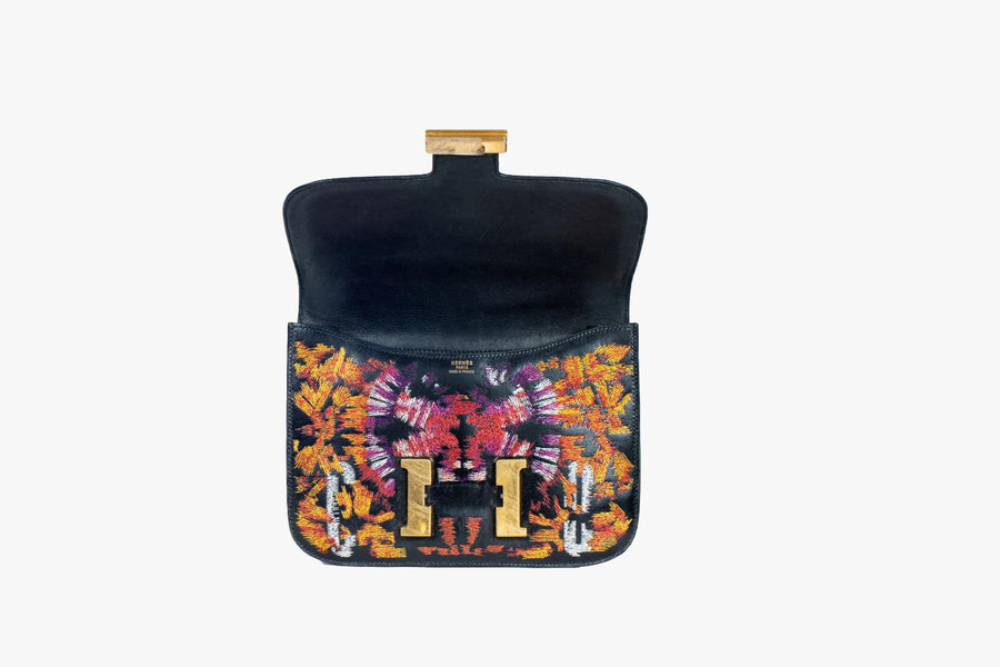 "Black Leather Hermes Constance 23cm with Tie Dye and Text Embroidery ""Psycho"" bag"