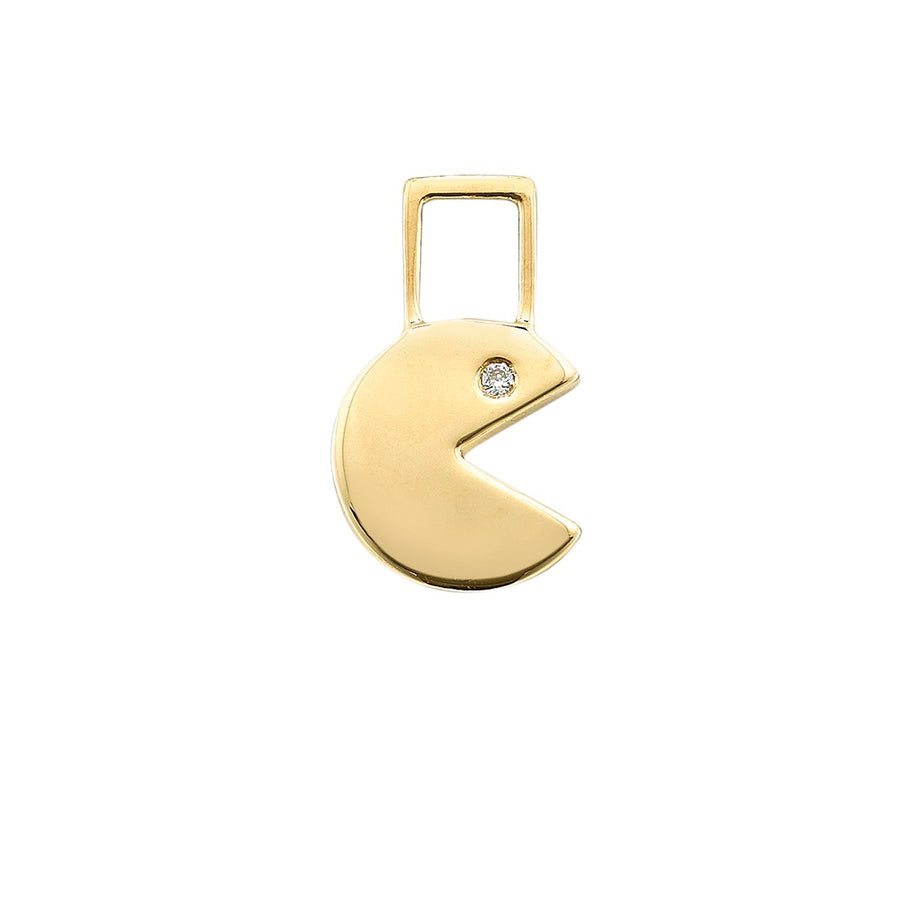 14K Yellow Gold with Diamond Pac-Man Charm For Hoop Earring