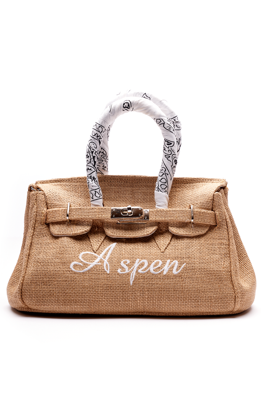 Jute with White Bandana Handle Mini Aspen Inspired Bag