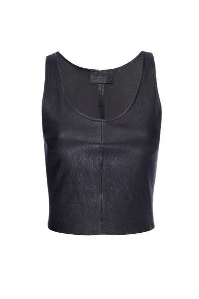 Black Leather Crop Tank