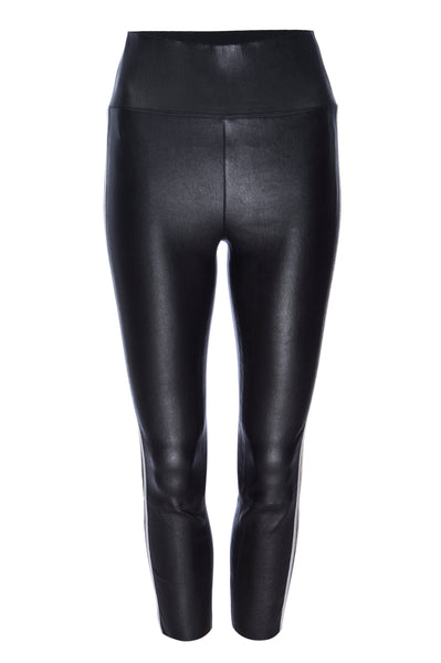Black with Gold and Silver Stripe Leather Capri Leggings