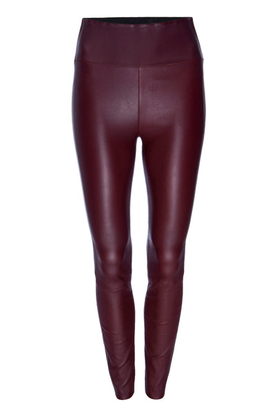 Burgundy Leather Ankle Leggings