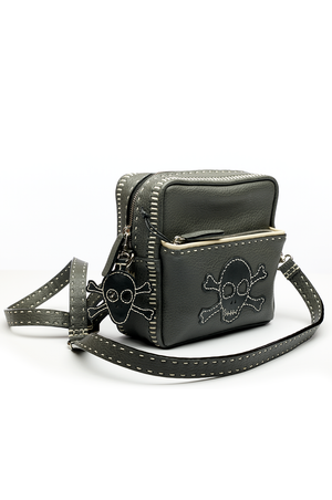 Ash Textural Buffalo Leather with Skull Small Shoulder Bag