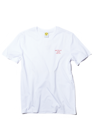 White Crewneck Embroidered Mood Swings Tee