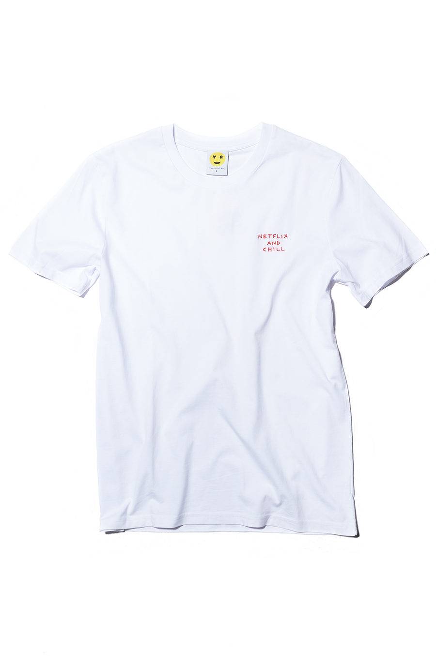 White Crewneck Embroidered Netflix and Chill Tee