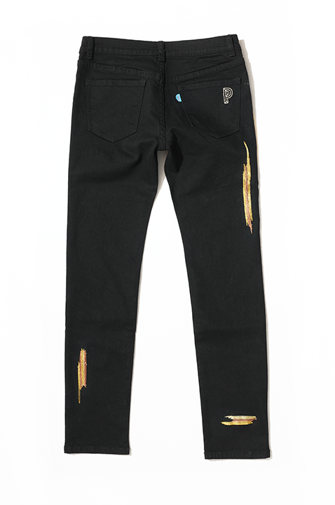 Black Gold Digger Embroidered Stretch Denim