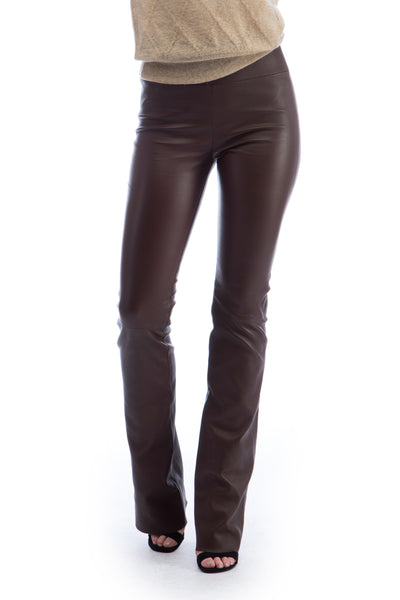 Chocolate Leather Micro Flare Legging