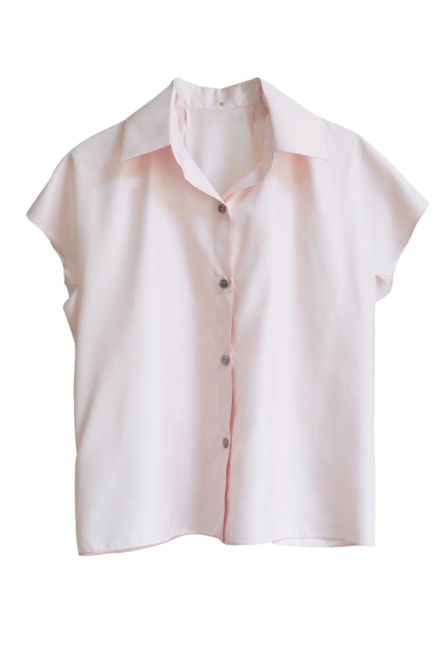 Light Pink Silk Short Silk Button Up Blouse