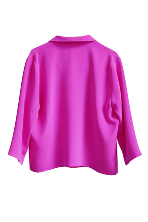 Hot Pink Silk 3/4 Sleeve Square Front Frolic Top