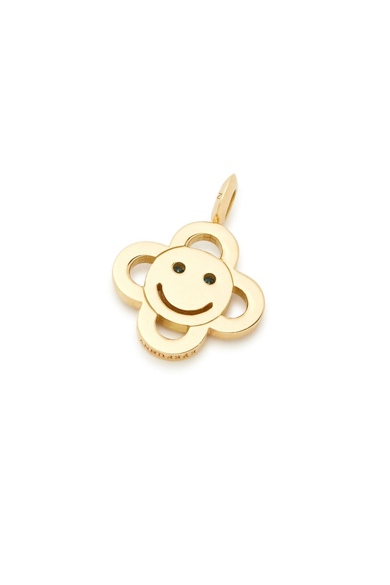 18K White and Blue Diamond Flower Smiley Charm