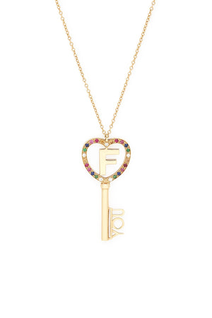 "18K Gold Multi Stone ""F You"" Pendant Necklace"