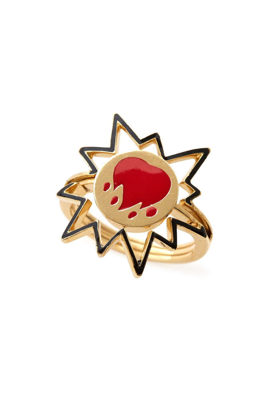 18K Gold & Black Enamel Interchangeable Emoji Ring - SZ 7.5