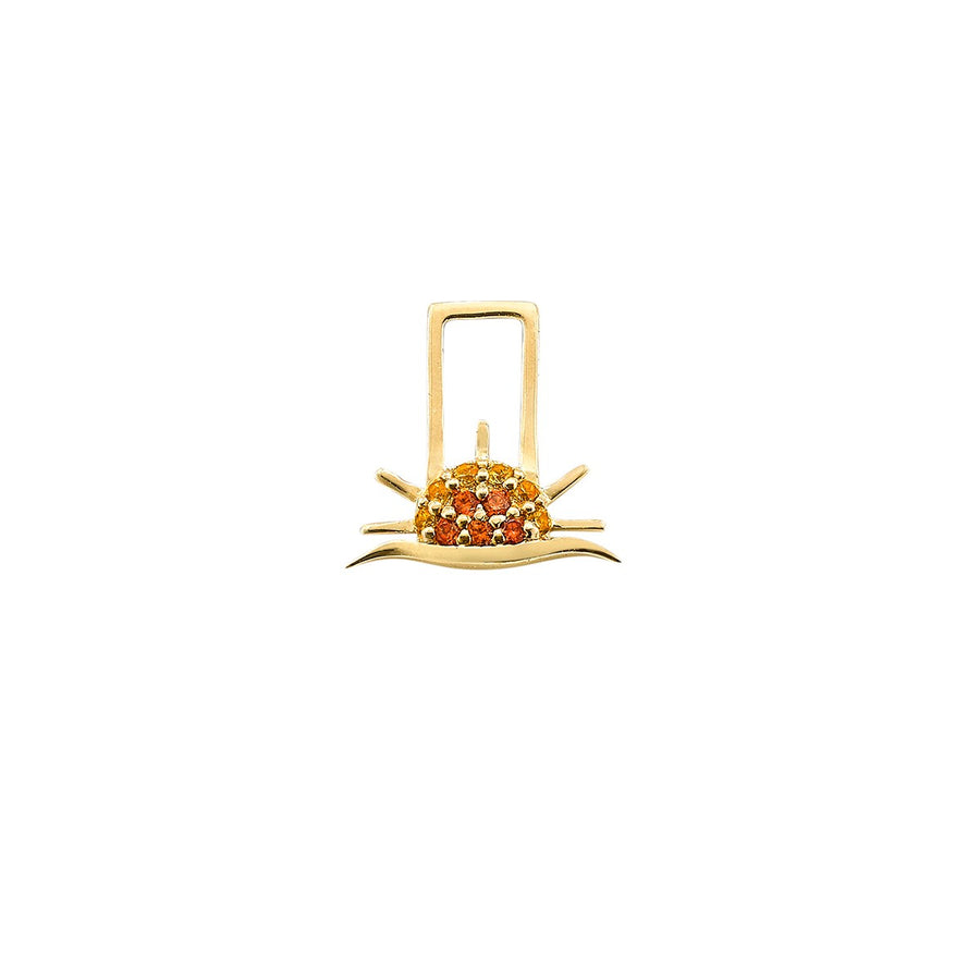14K Yellow Gold with Orange and Yellow Sapphires Rising Sun Charm For Hoop Earring
