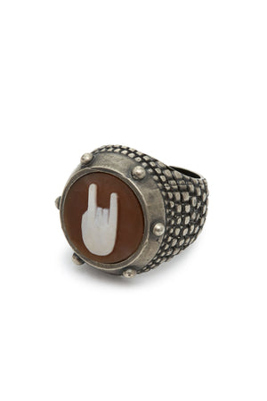 Sterling Silver Rock n Roll Hand Cameo Ring