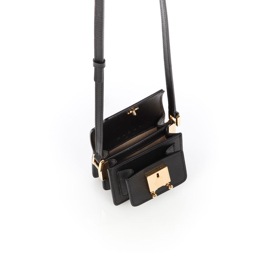 Nano Trunk Shoulder Bag in Black