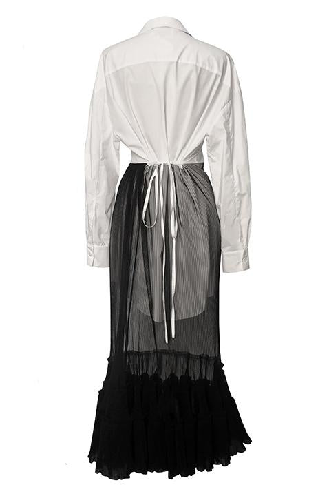 Shirt Dress with Plisse Tulle Skirt