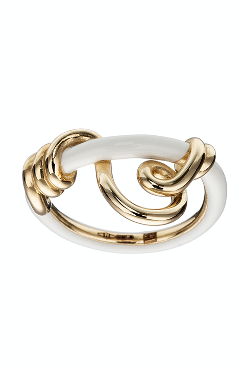 White Enamel Wrapped Vine Curl Stacking Ring