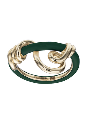 Forest Green Enamel Wrapped Vine Stacking Ring