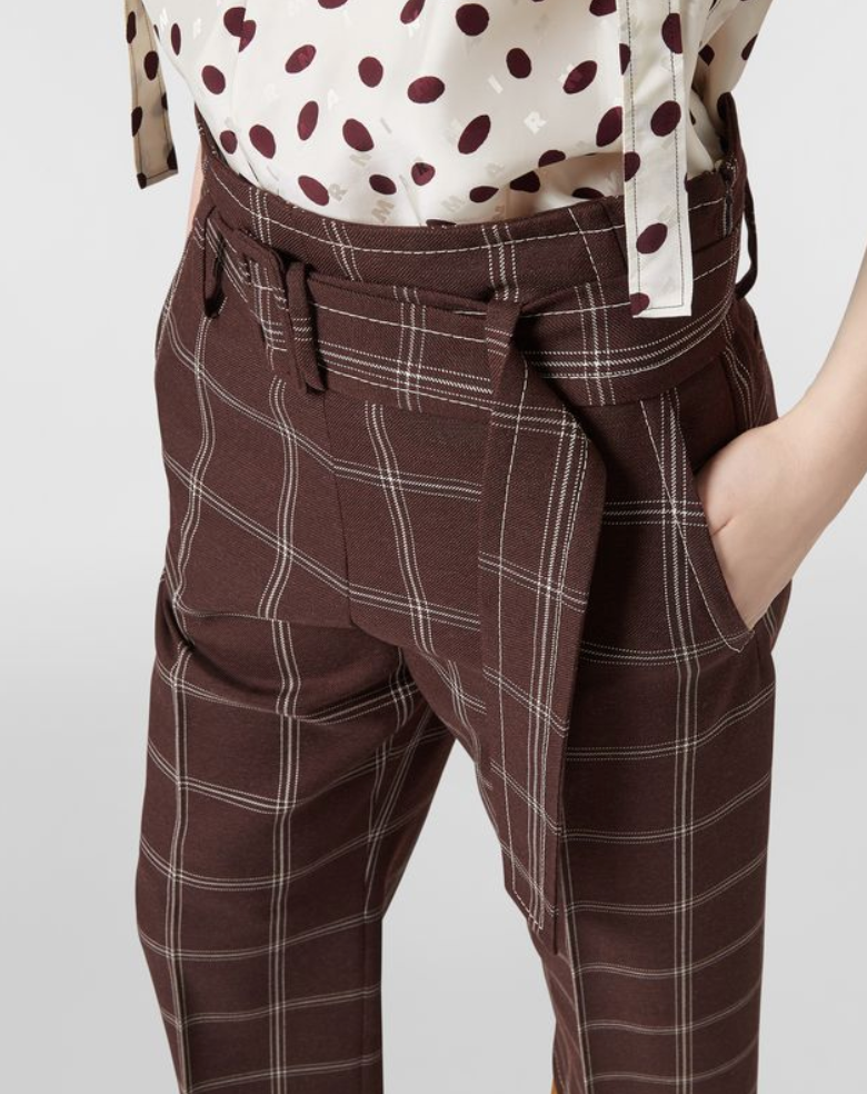Check Wide Leg Pants in Brown