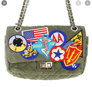 Chain Bag with Patches in Army Green Medium Size