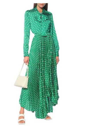 Polka Dot Pleated Skirt in Green