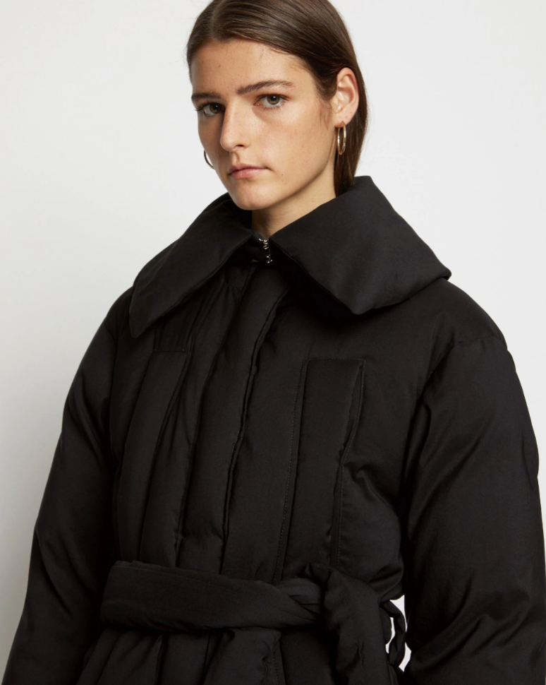 Parachute Suiting Puffer Coat in Black