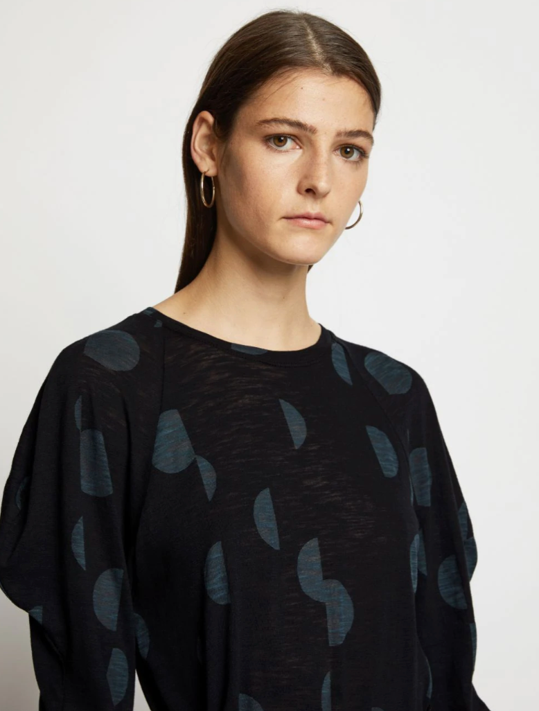 Printed Tissue Jersey Novelty Tee in Black