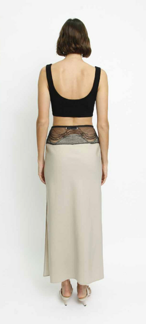Contoured Meander Lace Skirt in Stone and Black Lace