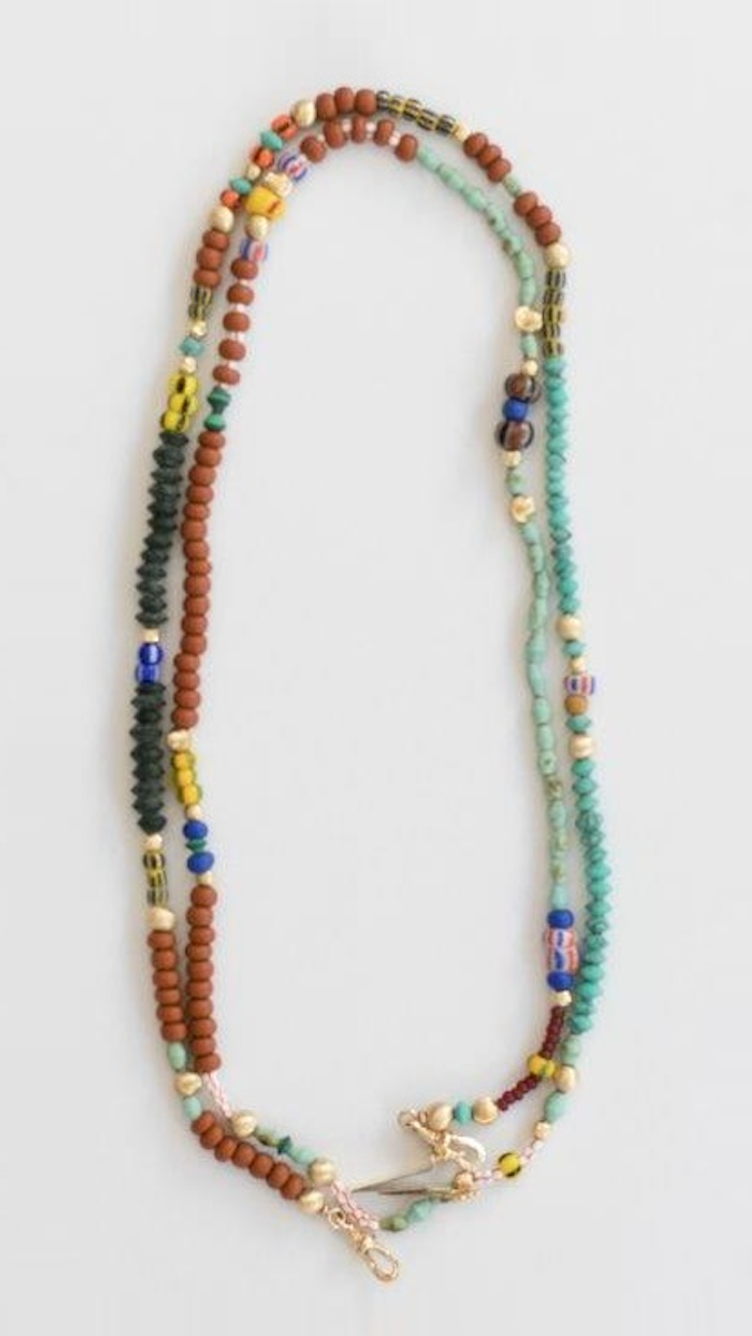 Multi-Colored African Beads Short Necklace 10K