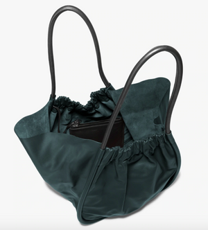 XL Ruched Smooth Calf Tote in Petrol Green
