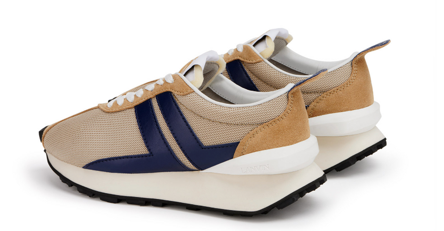Mesh Bumpr Sneakers in Light Beige and Blue