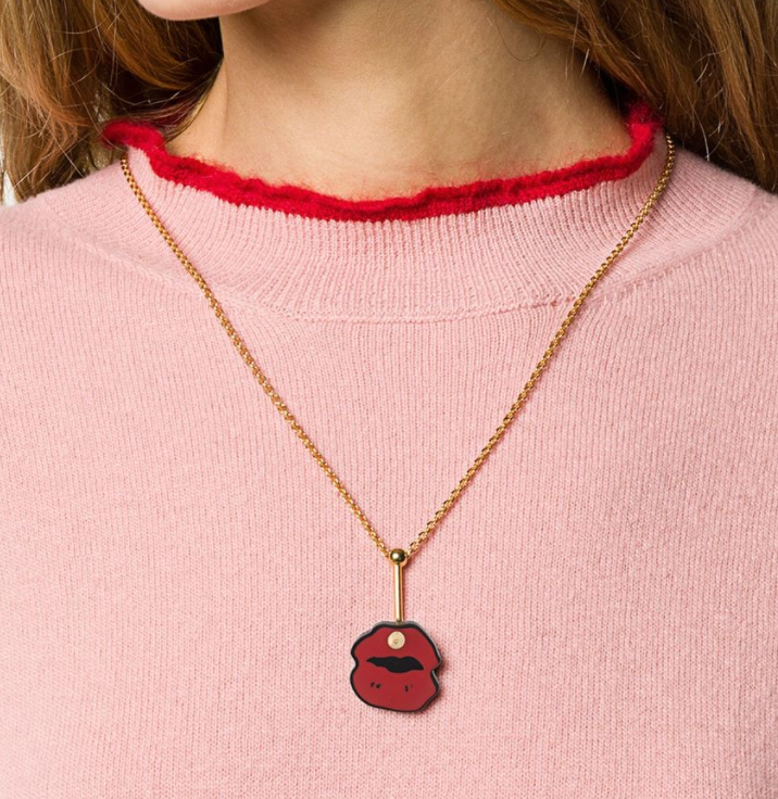 Lip Necklace in Red